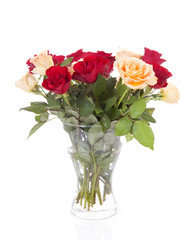 Bouquet of roses in vase