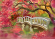 Bridge over the river. Watercolor picture