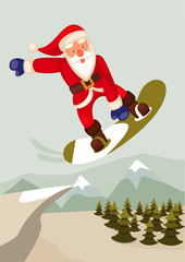 cartoon vector graphic depicting a snowboarding Santa