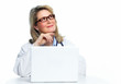 Doctor woman with laptop.