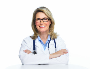 Smiling mature doctor woman.