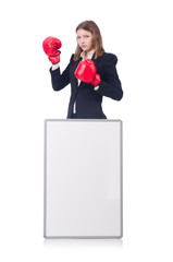 Woman boxer with blank board on white