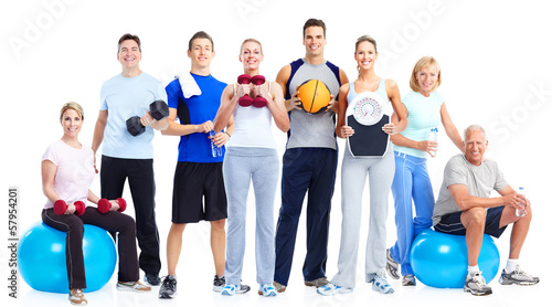 canvas print picture Group of fitness people.