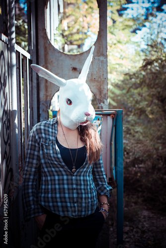 beautiful young blonde rabbit mask woman