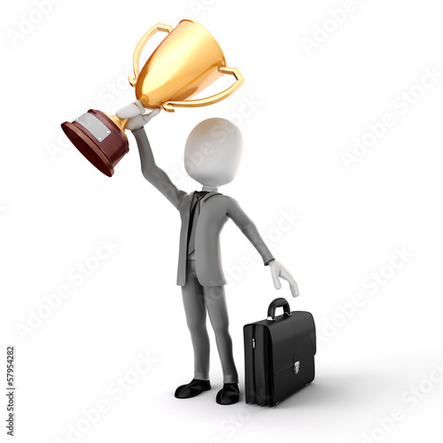 3d man businessman holding a gold trophy cup on white background