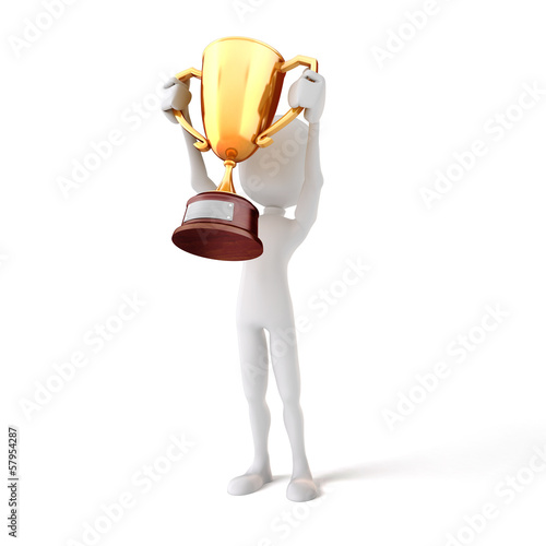 3d man holding a gold trophy cup on white background