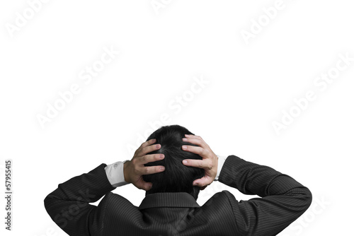 Businessman with 2 hand hold head with chagrin expression isolat