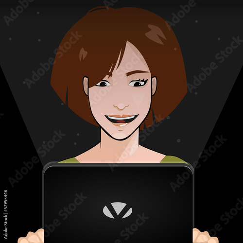 A girl with a Laptop in the night