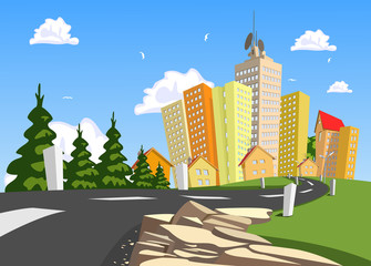 Vector city surrounded by nature landscape