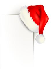 Weiße Ecke mit Weihnachtsmütze