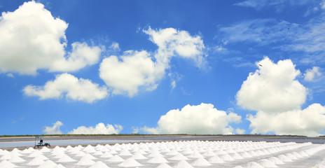 Salt mine under blue sky