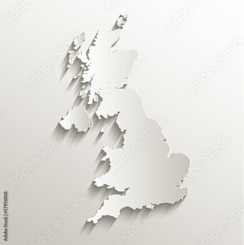 Great Britain United Kingdom map card paper 3D natural
