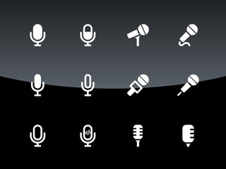 Microphone icons on black background.