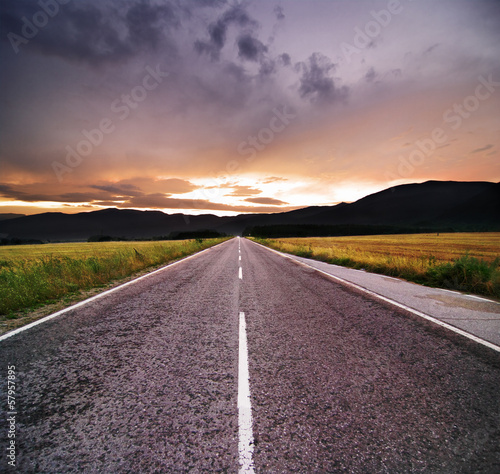 Sunset On Straight Road