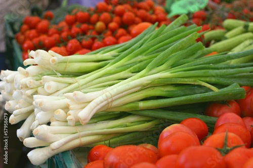 Fresh leek (Allium ampeloprasum) on a farmers market
