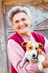 Laughing Woman with Puppy