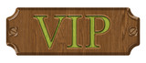 VIP,wooden label, isolated on the white background.
