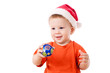 Smiling baby with Christmas decoration