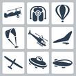 Vector aircrafts icons set - 57960867