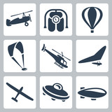 Vector aircrafts icons set