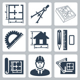 Vector building design icons set