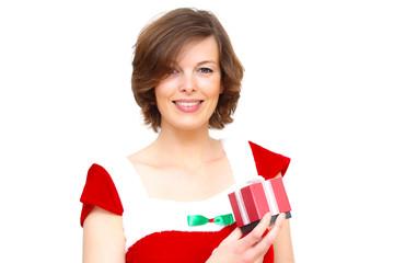 Weihnachtsfrau mit kleinem Geschenk