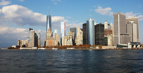 Manhattan, New York City skyline with Freedom Tower