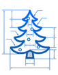 Christmas tree symbol with dimension lines of blueprint