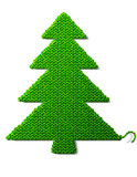 Christmas tree of knitted fabric isolated on white background
