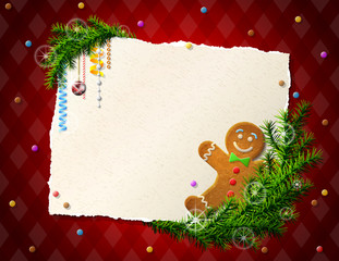 Empty paper for christmas list with gingerbread man, pine twigs
