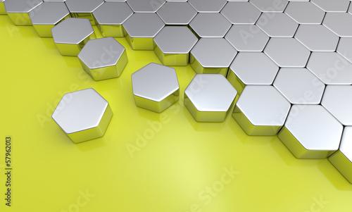 Silber Sechseck Baustein Konzept auf Gelb