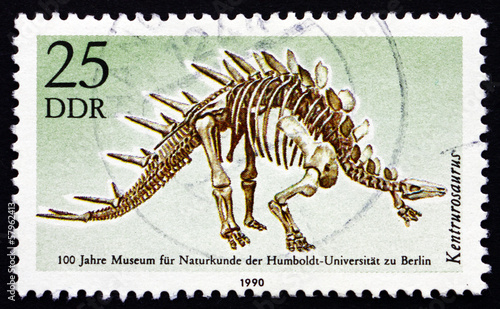 Postage stamp GDR 1990 Kentrurosaurus, Dinosaur, Extinct Animal