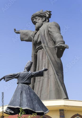 Leinwanddruck Bild Huge statue of Mevlana Rumi