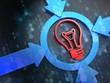 Light Bulb Icon on Digital Background.