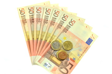 Banknoty euro i monety