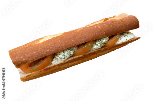 Vegetarian mozzarella sandwich isolated on white background