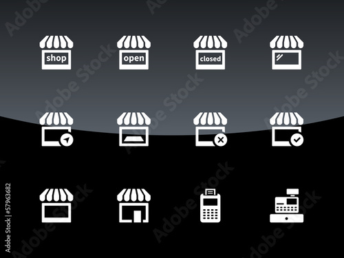 Shop icons on black background.