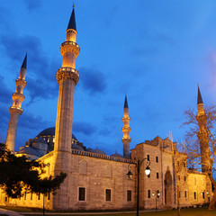 Suleymaniye Mosque night view, the largest in the city, Istanbul