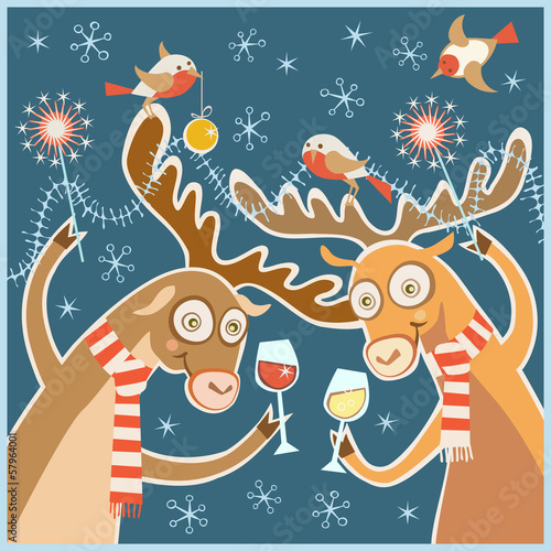 Christmas card with cheery party