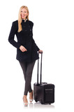 Businesswoman with travel suitcase on white