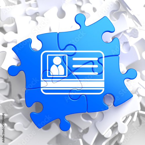 ID Card Icon on Blue Puzzle.