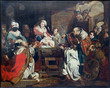 Leuven - Paint of Three Magi scene in st. Peters cathedral