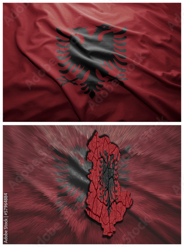 Albania flag and map collage