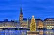 Leinwandbild Motiv Hamburg Alster zu Weihnachtszeit
