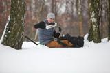 winter hiker having break for cup of tea