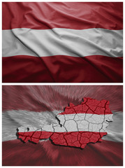 Austria flag and map collage