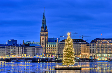 Hamburg Alster zu Weihnachtszeit