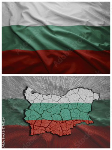 Bulgaria flag and map collage