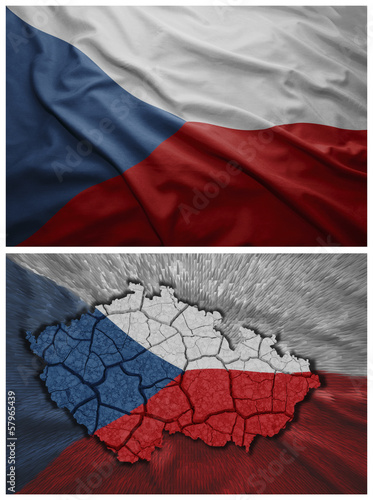 Czech Republic flag and map collage