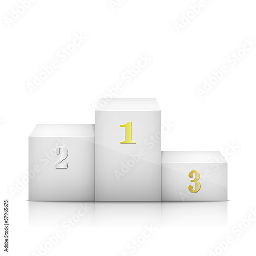 White Olympic Pedestal With Numbers